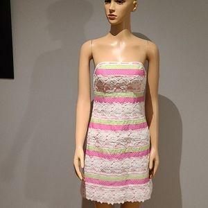 Lily Pulitzer strapless eyelet lace dress size 2